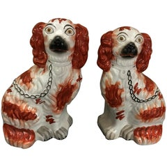 Pair of Male and Female Staffordshire England Red Seated Spaniel Dogs