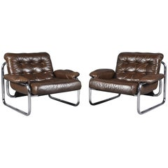 Pair of Johan Bertil Häggström for Ikea Leather Lounge Chairs, Sweden, 1970s