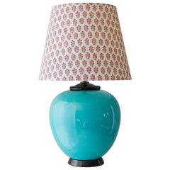 Turquoise Ceramic Art Déco Table Lamp