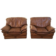 Mid-Century Modern Italian Pair of Genuine Leather Armchairs by Colombo, 1970s