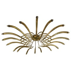 Brass Ceiling Chandelier Model 391 by Oscar Torlasco for Lumi, Italy, 1960s