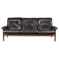 Scandinavian Three Seat Leather Sofa 1960s