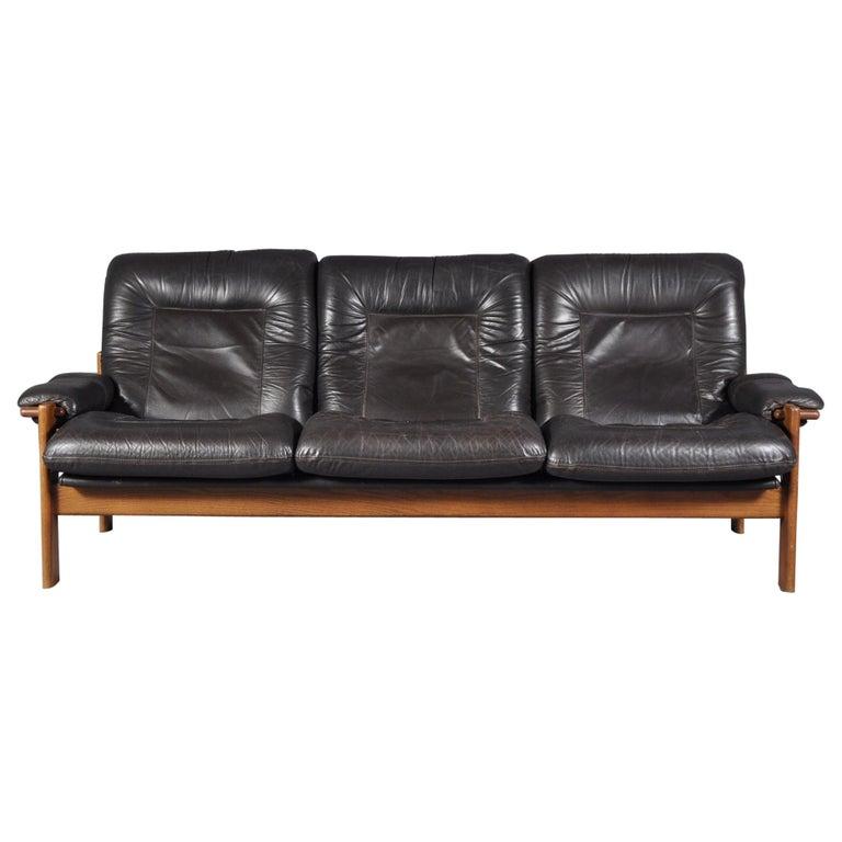 Scandinavian Three Seat Leather Sofa 1960s For