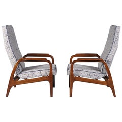 Scandinavian Modern Teak High Back Lounge Chairs, 1960s
