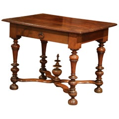 Mid-19th Century, French, Louis XIII Carved Walnut Table Desk with Turned Legs