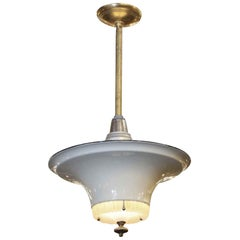 1940s Gray Steel Pendant Light with Milk Glass Center