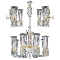 Exceptional Victorian Chandelier and Pair of Wall Lights by F&C Osler