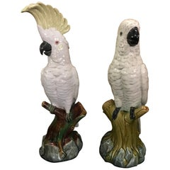 Pair of Mintons Majolica White Cockatoos