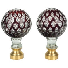 Pair of French Glass Boules d'Escalier or Newel Post Finials
