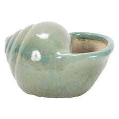 Glazed Ceramic Shell Form Vase Centrepiece