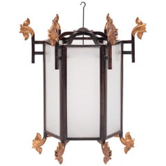 19th Century Chinese Lantern with Gilt Lotus Finials