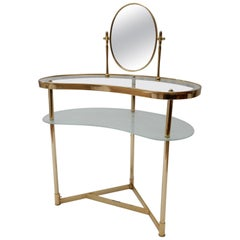 Italian Brass and Glass Dressing/Vanity Table, 1950s