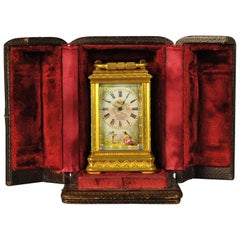 Miniature Engraved Gorge Cased Carriage Clock with Porcelain Panels