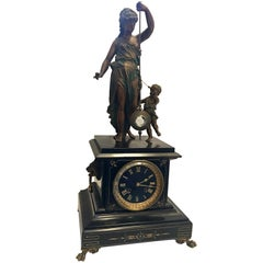 Rare Bronzed Spelter Mystery Clock with Mother and Child