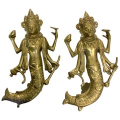 Pair of Solid Brass Asian Figurine Door Knobs
