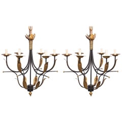Pair of Mid Century Spanish Iron and Gilt Metal Six Light Chandeliers