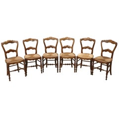 19th Century Louis Philippe Series of Solid Walnut Chairs 6-Pieces