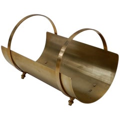 Italian 1960s Brass Magazine/Wood Rack
