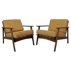 Pair of Mid-Century Modern Honey Wheat Walnut Lounge Chairs