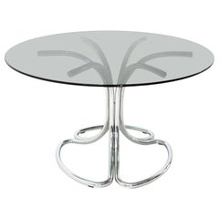 Italian Midcentury Dining Table with Chromed Legs, 1970s