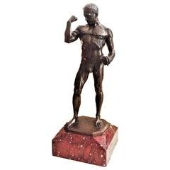 P. L. Kowalczewski, Jugenstil Bronze Sculpture, Athlete Tearing Chain circa 1900