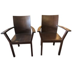 Pair of Modern Walnut Bulthaup Armchairs