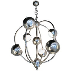Satellite Sputnik Chrome Chandelier, Italy, 1970s