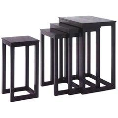 Set of Four Black Solid Ash Josef Hoffmann Nesting Tables