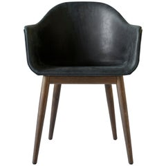 "Harbour Chair, Dark Oak Legs, ""Dunes"" Black"