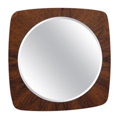 French Midcentury Teak Framed Mirror
