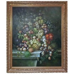 Monumental Still Life Oil on Canvas of Fruit by M. Picot