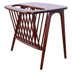 Arthur Umanoff Mid-Century Modern Walnut Magazine Rack Side Table