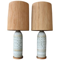 Pair of 1960s Italian Lamps with Raffia Shades