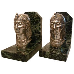 Art Deco Egyptian Head Silvered Bronze Signed Frecourt Bookends