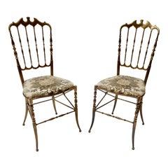 Pair of Brass Italian Chairs by Chiavari
