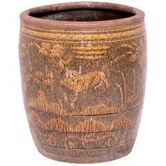 Chinese Fu Dog and Pine Tree Pickling Jar
