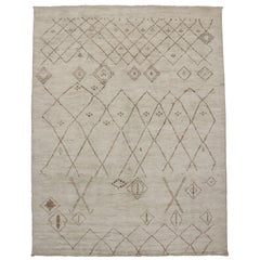 New Custom Order Moroccan Style Area Rug with Nomadic Style and Neutral Colors