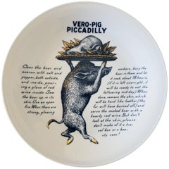 Piero Fornasetti Recipe Plate, Vero-Pig Piccadilly, Made for Fleming Joffe