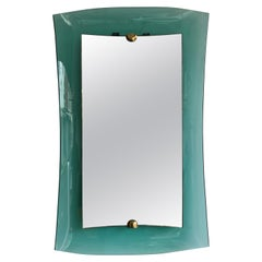 Curve Glass Brass Mirror by Cristal Art, 1960s