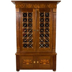 Floral Marquetry Mahogany Bookcase with Brass Work