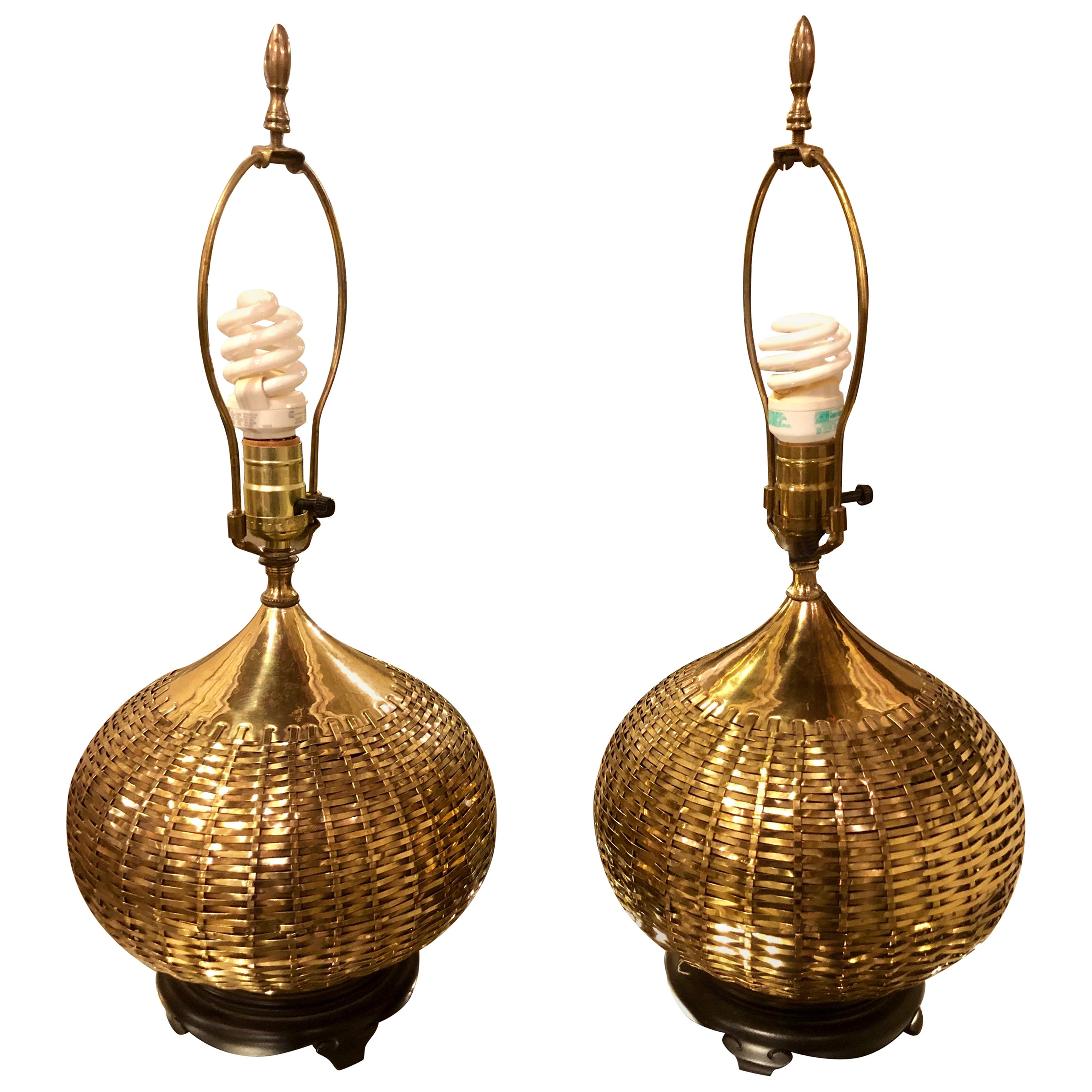 Pair of Hollywood Regency Asian Brass Basket Weave Table Lamps