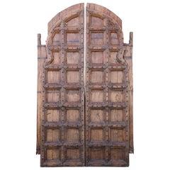 Early 19th Century Heavily Fortified Arch Doors from a Rundown Castle in Ujjain