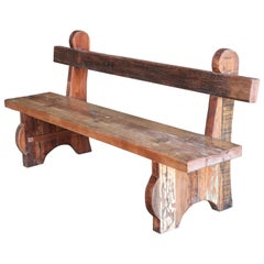 Mid=Century Thick Seat Heavily Made Hard Wood Garden Bench from a Tea Plantation