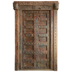 1800s Solid Teak Wood Meticulously Handcrafted Temple Entry Doors