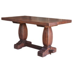 Early 20th Century Solid Teak Wood Pedestal Dining Table from a Settler's Home