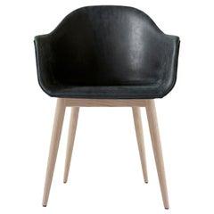 "Harbour Chair, Natural Oak, Sorensen's ""Dunes"" Black Leather"