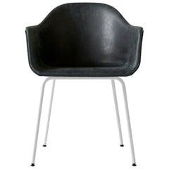 "Harbour Chair, White Legs, Sorensen's ""Dunes"" Black Leather"