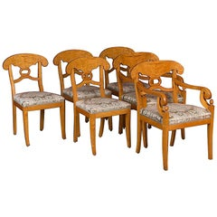 Set of Six Antique Swedish Biedermeier Yellow Birch Dining Chairs