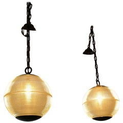 Pair of Fabulous Authentic Parisian Streetlight Spherical Pendants