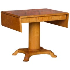 Antique Swedish Biedermeier Yellow Birch Drop Leaf Pedestal Table
